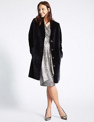 Manteau en faux rason, BLEU MARINE ASSORTI, catlanding