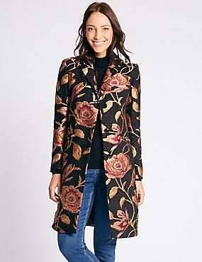 Floral Print Coat with Stormwear™, BLACK MIX, catlanding