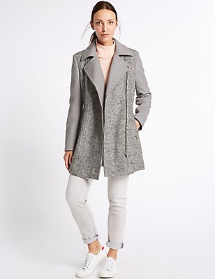 Wool Blend Biker Coat, SILVER GREY, catlanding