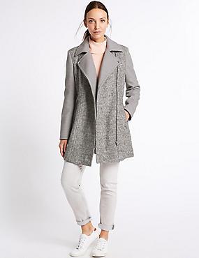 Wool Blend Biker Coat, SILVER GREY, catlanding