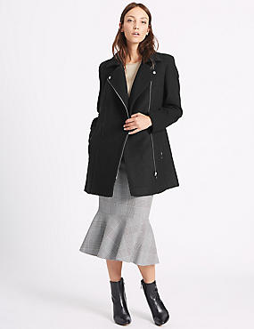 Wool Blend Biker Coat, BLACK, catlanding