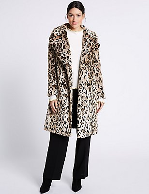 Leopard Faux Fur Coat, NATURAL MIX, catlanding