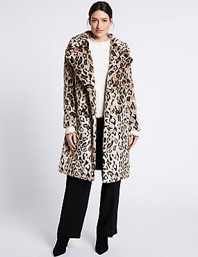 Leopard Faux Fur Coat, NATURAL MIX, catlanding