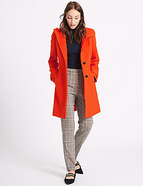 Waist Stitch Detail Coat, ORANGE, catlanding