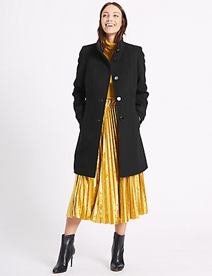 Waist Stitch Detail Coat, BLACK, catlanding