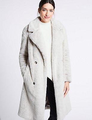 Double Breasted Faux Fur Coat, IVORY, catlanding