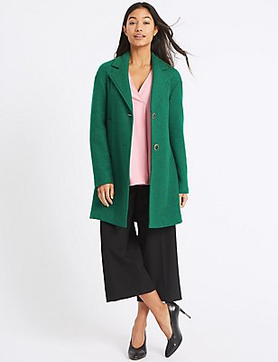 Wool Blend Single Breasted Coat, BRIGHT GREEN, catlanding
