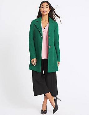 Wool Blend Single Breasted Coat, BRIGHT GREEN, catlanding