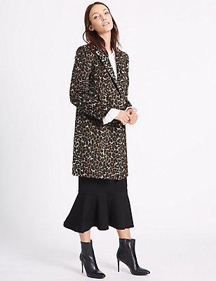 2 Pocket Animal Print Coat, BROWN MIX, catlanding