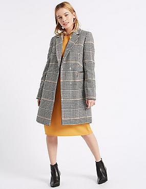 PETITE Double Breasted Coat, BLACK MIX, catlanding