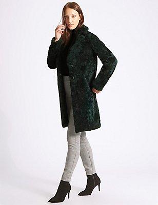 Textured Faux Fur Coat, FOREST GREEN, catlanding