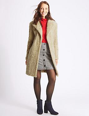 Textured Faux Fur Coat, CARAMEL, catlanding