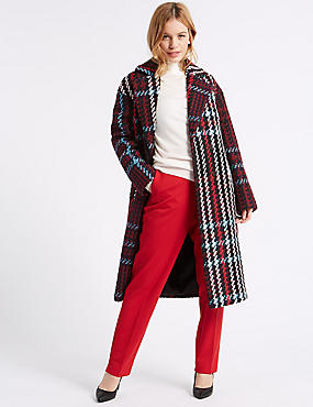 PETITE Checked Coat, NAVY MIX, catlanding