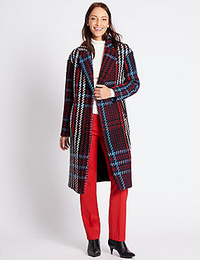 Double Breasted Checked Coat, NAVY MIX, catlanding