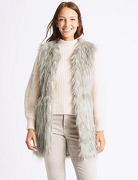 Faux Fur Gilet, NATURAL MIX, catlanding