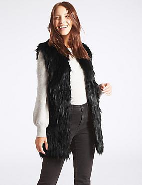 Faux Fur Gilet, BLACK, catlanding