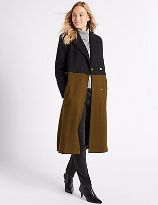 Colour Block Coat, BLACK MIX, catlanding