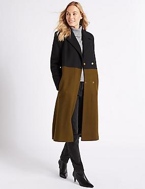 Colour Block Coat, BLACK MIX, catlanding