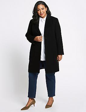 CURVE Single Button Coat, BLACK, catlanding