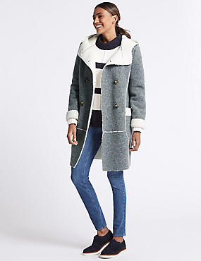Wool Blend Patch Pocket Coat, GREY, catlanding