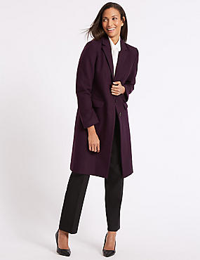 Wool Rich Single Breasted Coat , DARK PURPLE, catlanding