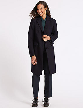 Wool Rich Single Breasted Coat , NAVY, catlanding
