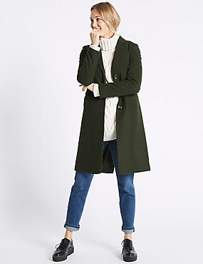 Wool Rich Single Breasted Coat , MEDIUM KHAKI, catlanding