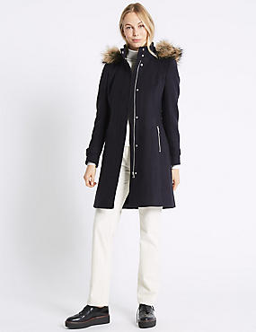 Faux Fur Collar Longline Coat, NAVY, catlanding