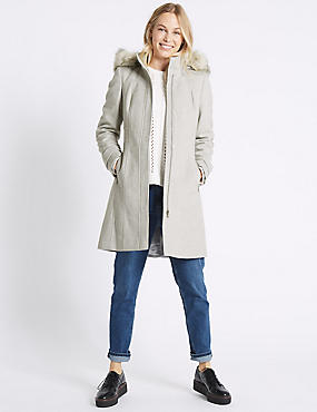 Faux Fur Collar Longline Coat, SILVER GREY, catlanding
