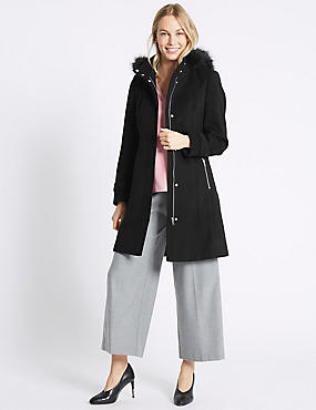 Faux Fur Collar Longline Coat, BLACK, catlanding