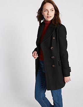 Double Breasted Pea Coat  , BLACK, catlanding