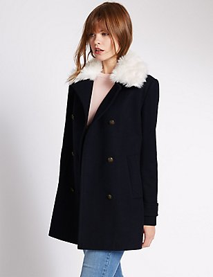 Wool Blend Faux Fur Double Breasted Coat, NAVY MIX, catlanding