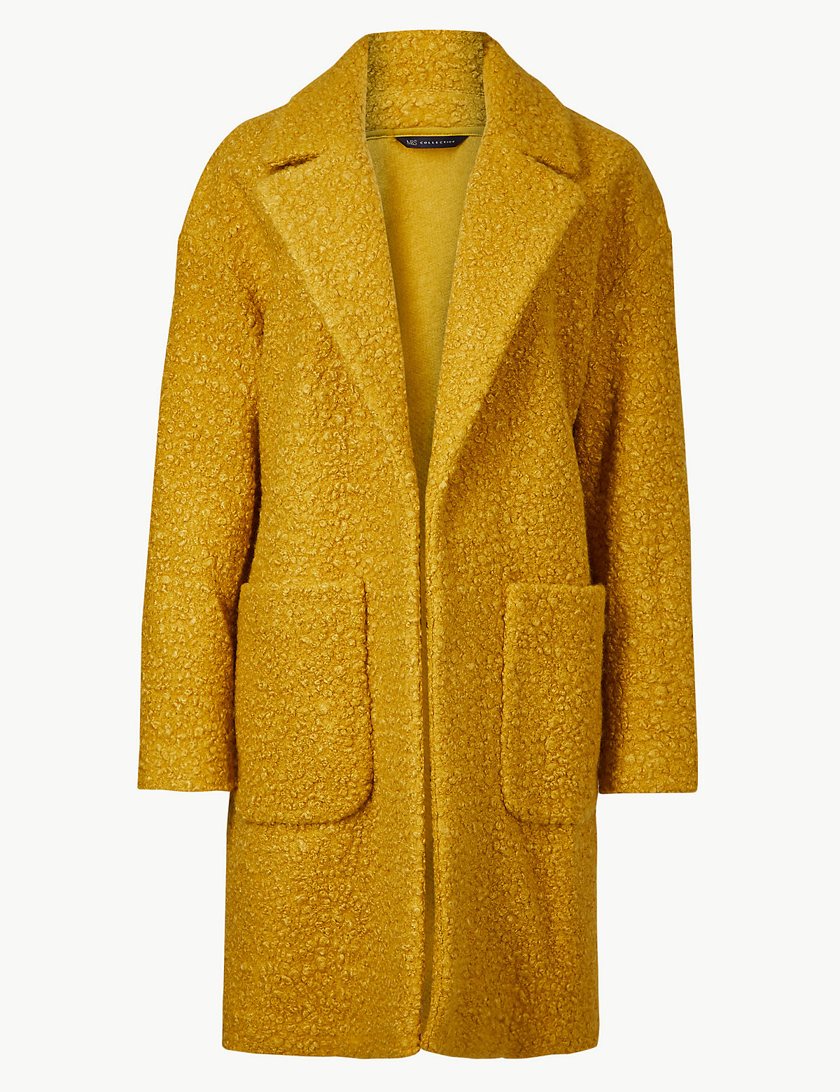 Легкое буклированное пальто с большими карманами M&S Collection. Цвет: медовый