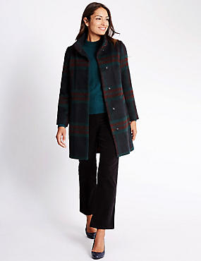 Checked Overcoat with Wool, RED MIX, catlanding