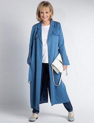Belted Trench Coat, BLUE, catlanding