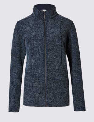 Текстурная флисовая куртка на молнии с высокой горловиной