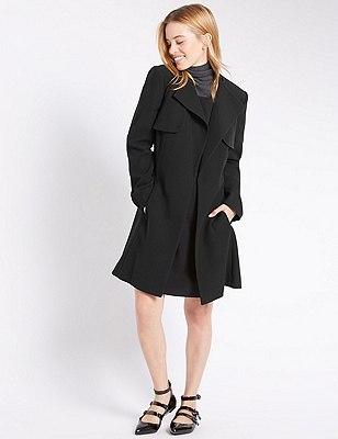 PETITE Belted Wrap Coat, BLACK, catlanding