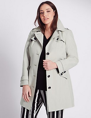 PLUS Belted Trench with Stormwear™, PEBBLE, catlanding