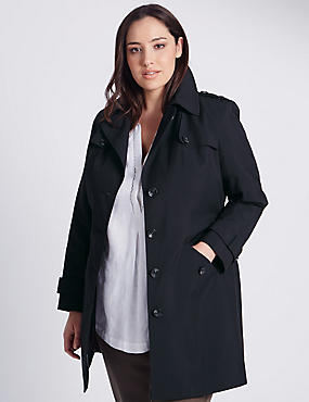 PLUS Belted Trench with Stormwear™, BLACK, catlanding