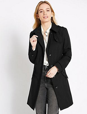 PETITE Belted Trench Coat with Stormwear™, BLACK, catlanding