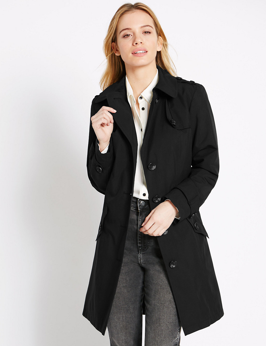 PETITE Belted Trench Coat with Stormwear™ | M&S
