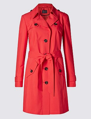 Belted Mac with Stormwear™, CORAL, catlanding