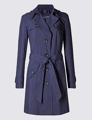 Belted Mac with Stormwear™, NAVY, catlanding