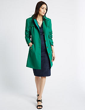 Belted Trench with Stormwear™, GREEN, catlanding