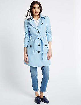 Belted Trench with Stormwear™, PALE BLUE, catlanding