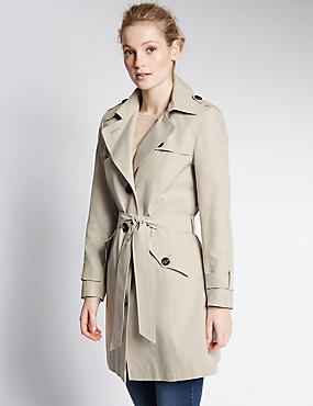Belted Trench with Stormwear™, PEBBLE, catlanding