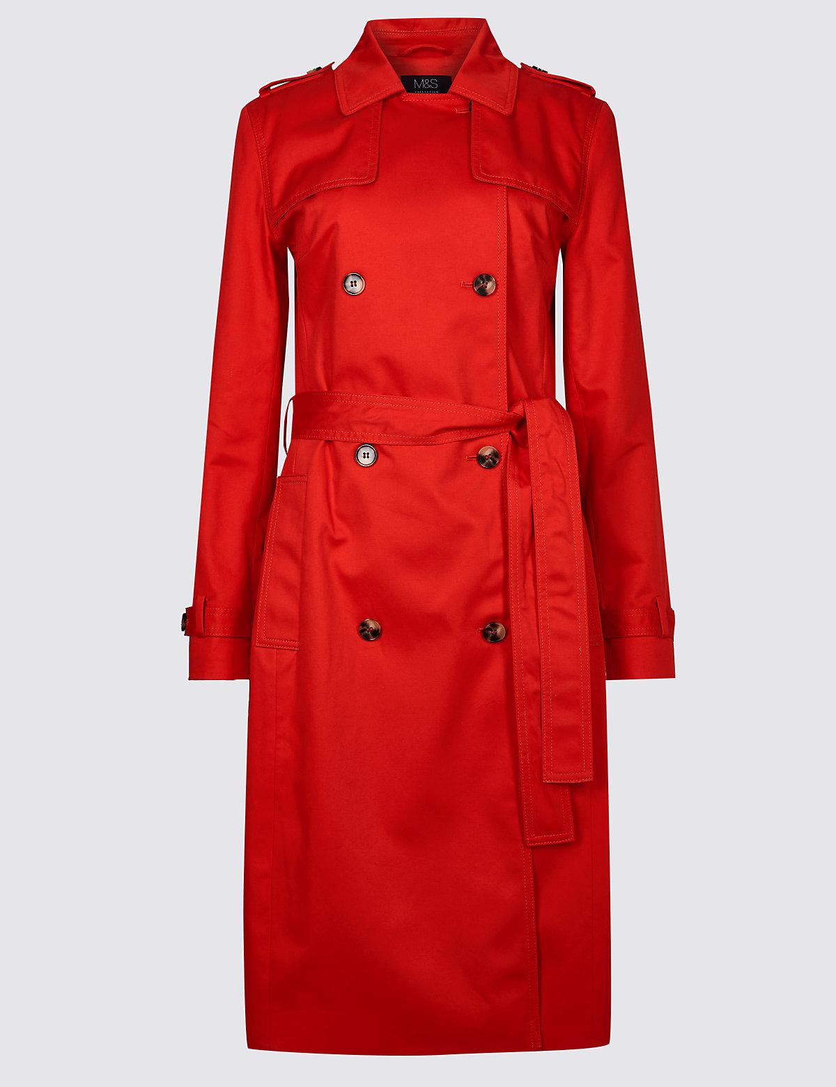 Удлиненный макинтош из 100%-го хлопка с технологией Stormwear™ M&S Collection. Цвет: яркий красный