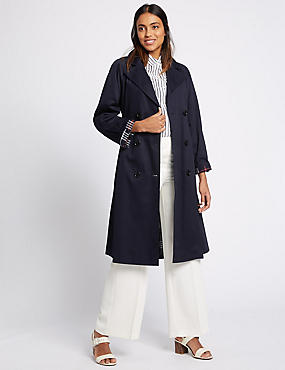 Pure Cotton Trench Coat with Stormwear™, NAVY, catlanding