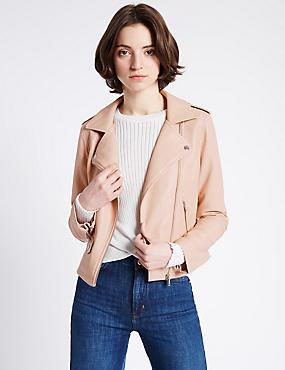 Faux Leather Biker Jacket, ROSE, catlanding