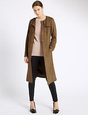 Suedette Trench Coat, TAN, catlanding
